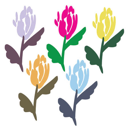 Retro Tulips Brush Stroke vectorset