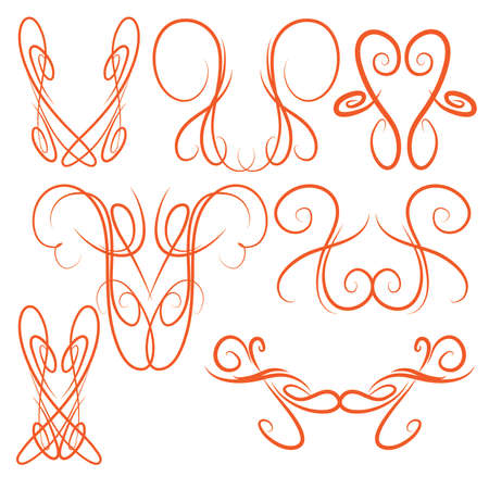 pinstripe: Decorative Symmetrical Pinstripe Style Swirls Elements, Orange Illustration