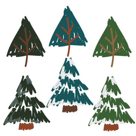 Hand Drawn Snow Covered Pines, and pine trees set,