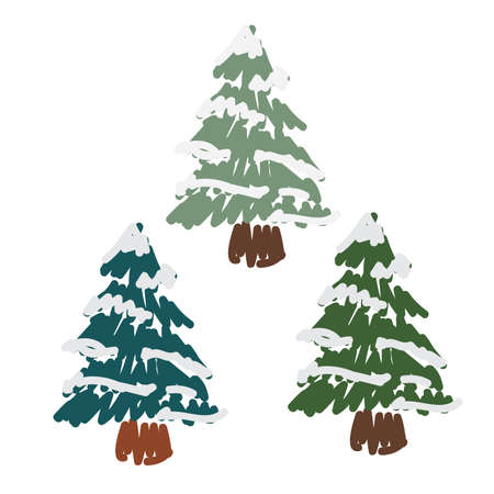 Hand Drawn Snow Covered Pines Иллюстрация