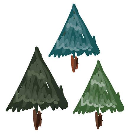 Hand Drawn Pine Trees  Set Иллюстрация