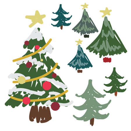 Hand Drawn Pine Tree, Christmas Tree,  Set Illustration