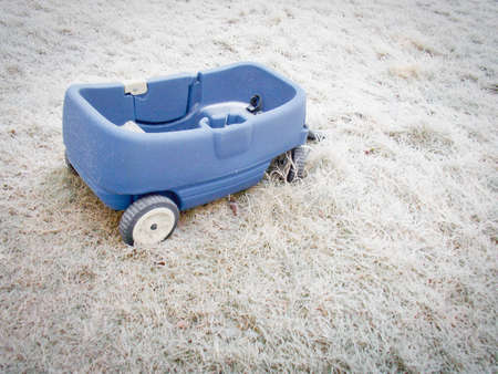 Blue wagon in Ice Covered Grass in Winter Stock Photo - 70606072