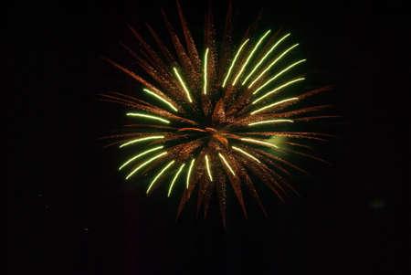 orange and green firework