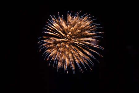 orange and blue firework