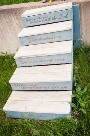 wooden stairs with scripture