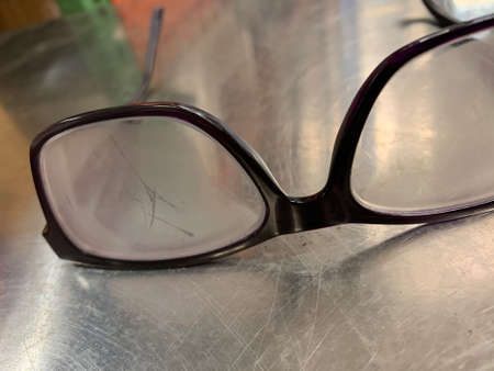Foggy glasses on metal surface