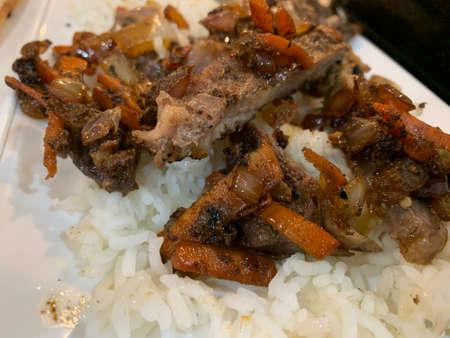 asian style stir fry with rice Stockfoto
