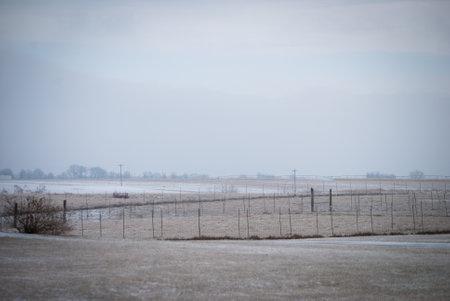wintery farm land Stockfoto