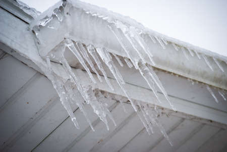 Icicles dripping from roof