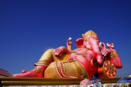 Pink Ganesh statue at Saman Rattana Ram Temple of Thailand photo