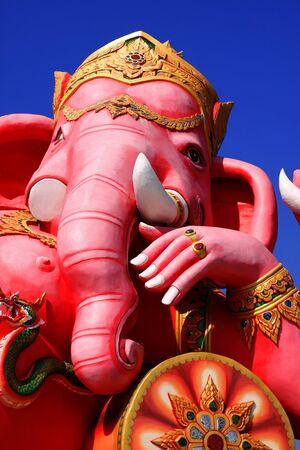 Pink Ganesh statue at Saman Rattana Ram Temple of Thailand photo