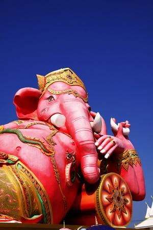 Pink Ganesh statue at Saman Rattana Ram Temple of Thailand