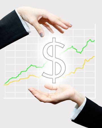 Profit sharing :Stock graph on background Stock Photo