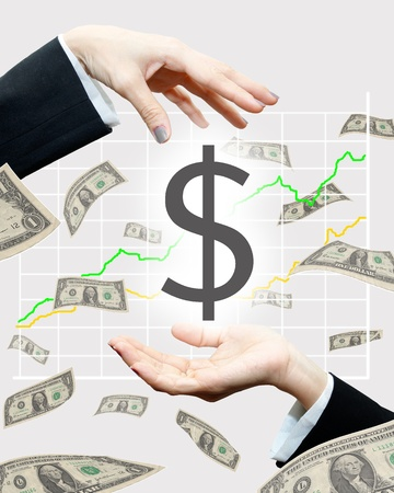Profit sharing :Dollar falling form woman hand with stock graph on background Stock Photo