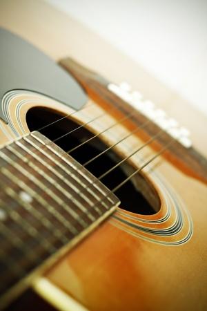 Closeup of acoustic guitar Stock Photo