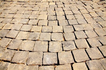 Street being paved with cobblestones Stock Photo