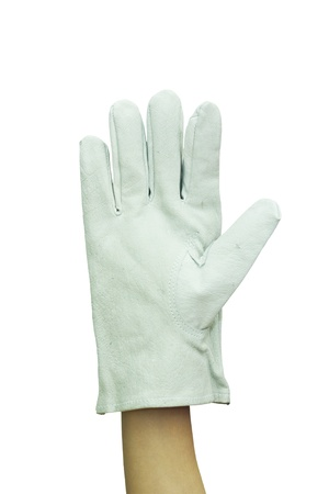 Raise one hand with work glove isolated on a white background
