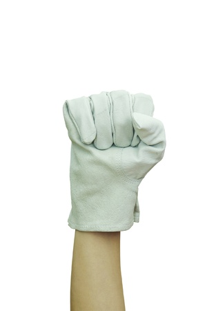 Hand with work glove Raised fist Isolated on white background Stock Photo - 13712884