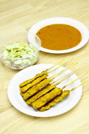 Grilled Pork Satay with Peanut Sauce and Vinegar,Thai food Stock Photo
