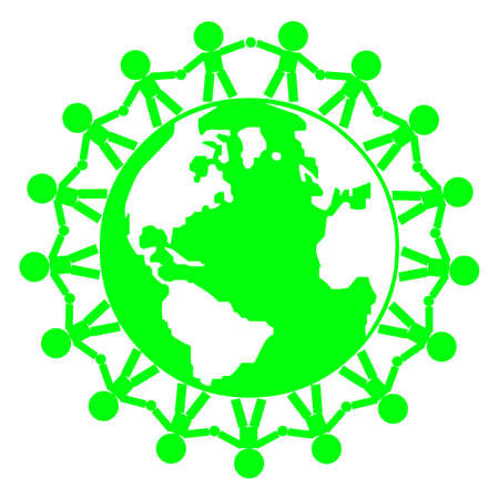 image of people holding hands around globe in green. Use as concept for environment, unity,world peace