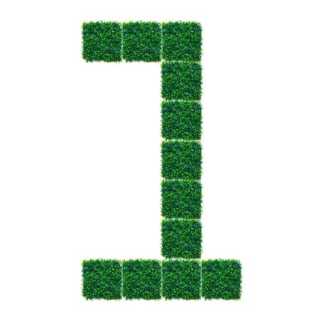 pasto sintetico: Número Uno hecha de césped artificial en el fondo blanco.