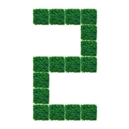 pasto sintetico: Número Dos hechos de césped artificial sobre fondo blanco. Foto de archivo