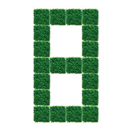 Number eight made from Artificial Grass on white background. photo