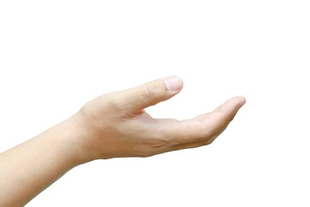Male hand held up on white background. Stock Photo - 15483043
