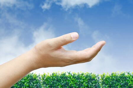 Male hand held up with blue sky and Grass.. Stock Photo - 15483046
