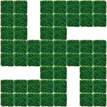 shakti: Swastika made from Artificial Grass pattern isolated on white background.
