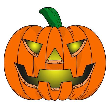 calabaza caricatura: Calabaza de Halloween c�mic sobre fondo blanco.