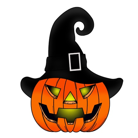 witch face: Halloween Pumpkin comic with witch hat.