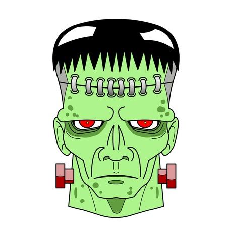 Halloween Frankenstein s Monster head comic. Stock Photo