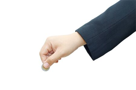Male hand with coin on white background. Stock Photo - 16509332