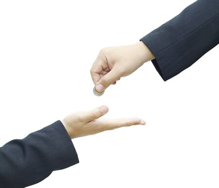 Businessman hand giving a coin to another person on white background  Stock Photo - 16509189