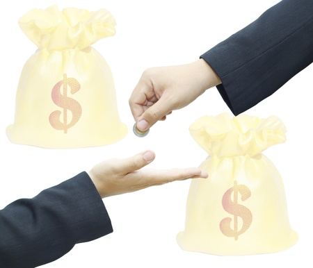 Businessman hand giving a coin for investment to another person with money bag on white background