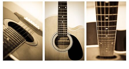 Acoustic guitar close up , shallow depth of field vintage style photo . Stock Photo