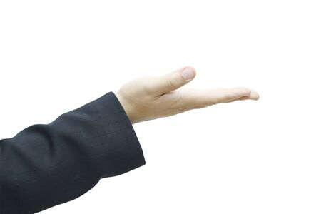 business man's hand held up isolated on white background. Stock Photo - 16554228
