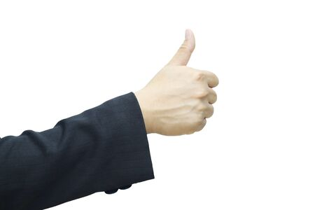 man's thumb: Business man s hand with thumb up isolated on withe background.
