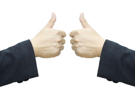 Business man hand, two thumb up isolated on white background  Stock Photo