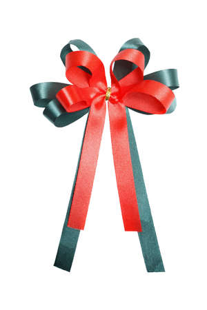 Red and green gift bow isolated on white background.