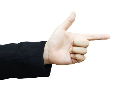 Business mans hand pointing to something isolated on white background