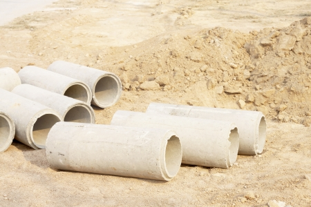 Concrete Drainage Pipe on a Construction Site photo