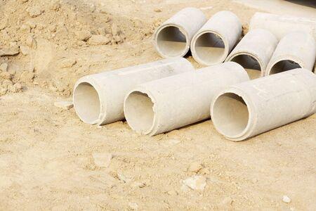 Concrete Drainage Pipe on a Construction Site