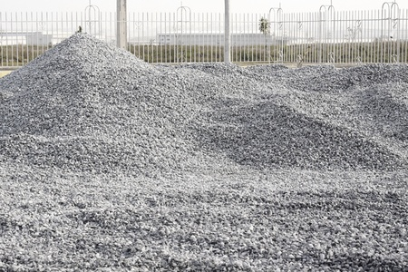 Pile Crushed stone for construction the building. Stock Photo