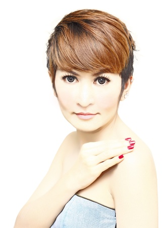 Pretty women short hair with hand on her shoulder on white background