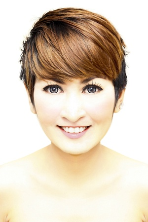 Pretty woman short hair smiling on white background