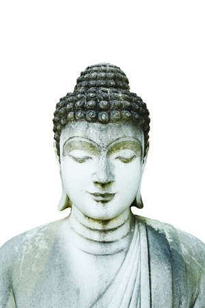 Stone Statue of Buddha on white background
