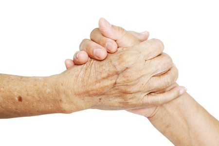 Woman Comforting Hand with Old woman isolated on white background Stock Photo